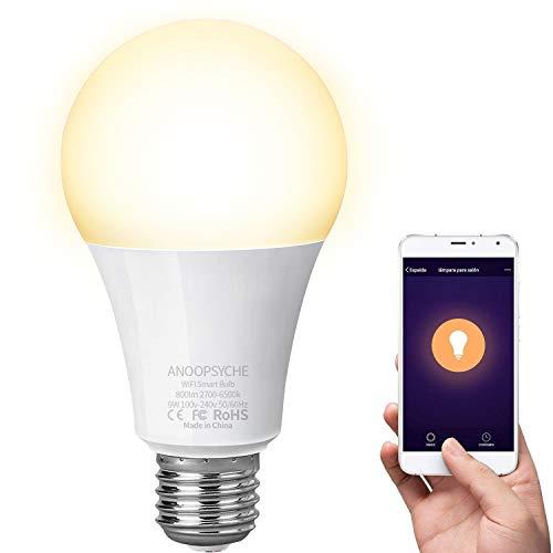 Bombilla Inteligente LED WiFi Lámpara ANOOPSYCHE Smart Bulb E27 9W 2700-6500K 800LM Equivalente 60W Bombilla Luz Blanca Cálida a Fría Regulable, Trabajar con Alexa y Google Home No Requiere Hub 1 Pack
