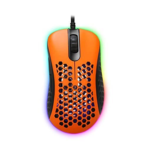 EQEOVGA D10 65G Light Mouse - Ratón ligero para videojuegos (sensor óptico de 12000 DPI PMW3360, carcasa trenzada ultraligera y con cable trenzado), color naranja y negro