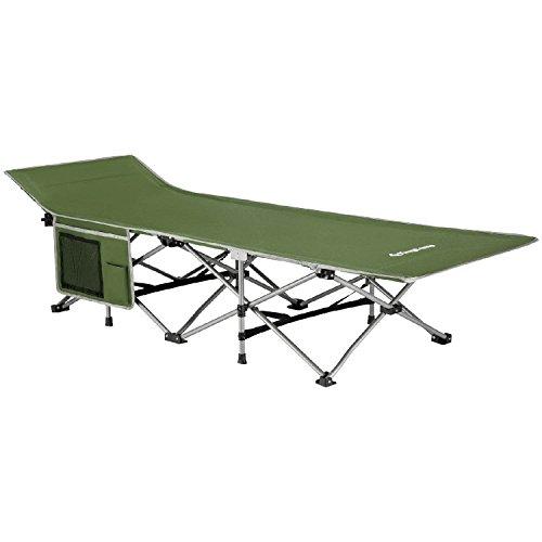 KingCamp Feldbett mit Seitentasche Ultraleicht Campingbett Klappbett Indoor Outdoor bis 100 kg belastbar für Camping Strand Reisen Klettern, 190 × 68 × 48 cm