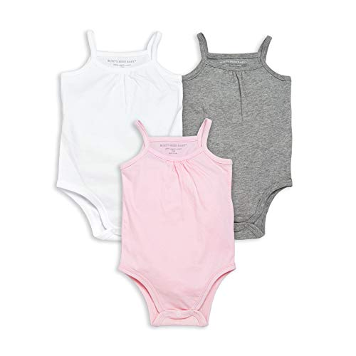 Burt's Bees Baby Baby Bodysuits, 3-Pack Long & Short-Sleeve One-Pieces, 100% Organic Cotton, White/Pink/Grey Camis, 18 Months