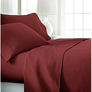 ienjoy Home Hotel Collection Luxury Soft Brushed Bed Sheet Set, Hypoallergenic, Deep Pocket, California King, Burgundy