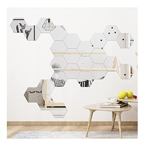 24 Autocollants Muraux Miroir PC, 13,5 cm de Diamètre, Autocollants Muraux Hexagonaux de Miroir Décoratif Bricolage Acrylique Amovible