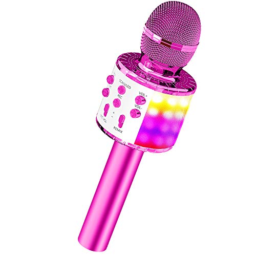 Karaoke Microphone for Kids, Wireless Bluetooth Microphone Girls Toys with LED Lights Magic Voice Changer, Fun Toys for 3 4 5 6 7 8 9 10 Year Old Girls Boys Christmas Birthday Home Party Gifts
