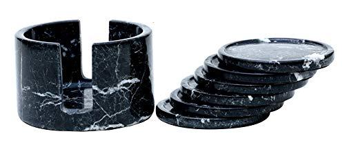 Radicaln - Juego de posavasos de mármol hecho a mano de 3.5 pulgadas, color negro, taza de café calentado para oficina, posavasos redondos – Organizador de cocina, soporte para...