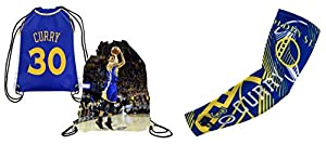Forever Fanatics Golden State Curry #30 Basketball Fan Gift Set ? Curry #30 Picture Drawstring Backpack & Matching Compression Shooter Arm Sleeve