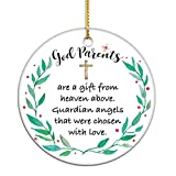 VILIGHT Godparents Gifts from Godchild - Baby Boy and Girl Baptized Keepsake Christmas Ornaments with Tag - 2.75 Inch