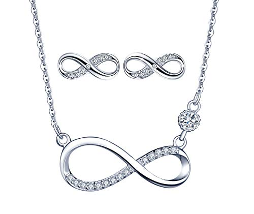 Collar de símbolo de infinito, pendientes de símbolo de infinito, joyería de plata esterlina 925 para mujer niña, juegos de joyas colgante de diamantes, regalo de cumpleaños de Navidad