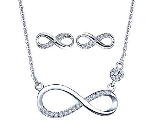 Yumilok 925 Sterling Silber Damen Halskette Kette mit Unendlichkeit Infinity Symbol Anhänger Zirkonia Ohrstecker Ohrringe Creolen Schmuck set für Frauen Mädchen Roségold