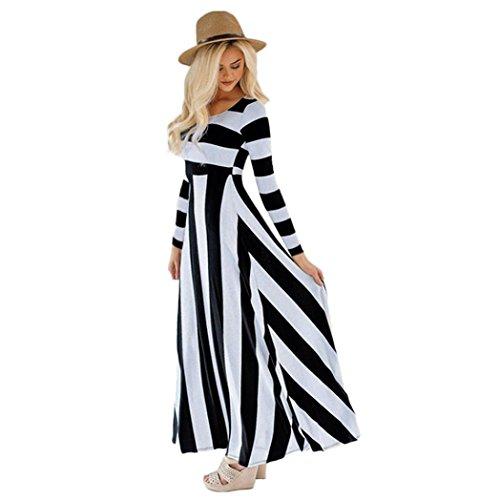Stripe Long Maxi T Shirt Dress for Women Long Sleeve Boatneck Dresses Trendy Black