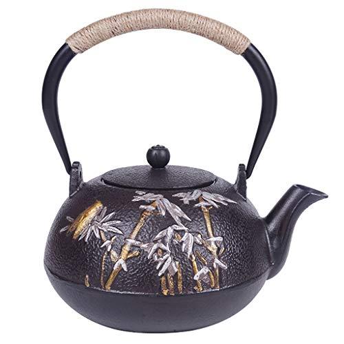 Théière Théière en fonte avec infuseur amovible Bouilloire 1.2L de style japonais Tetsubin  Bouilloire en fonte pour garder le thé au chaud  Forêt de bambous et cigale bouilloire en fer