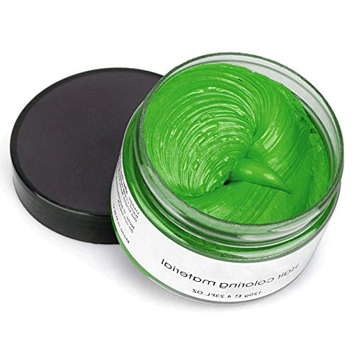 Permotary Hair Color Wax Styling Cream Mud, Temporary Hair Dye Wax Great for Party, Cosplay, Halloween,Fancy Dress, 4.23 OZ(Green)