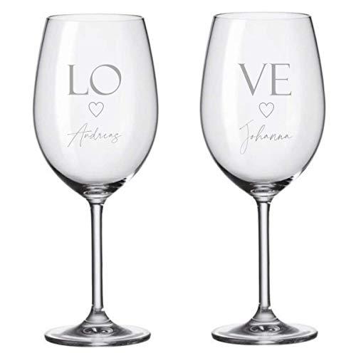 KT-Schmuckdesign Weingläser Leonardo Set - Love mit Wunschtext - Geschenkidee Pärchen Liebe Geschenk für Frau und Mann Weinglas mit Gravur