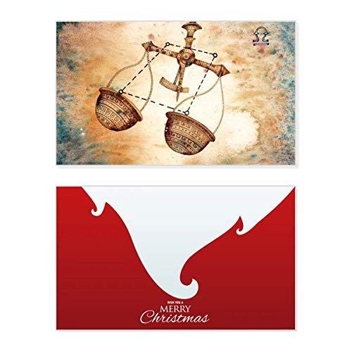 September Oktober Waage Sternbild Urlaub Merry Christmas Karte Weihnachten Vintage Nachricht