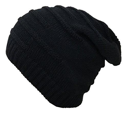 Gajraj Wrinkled Slouchy Beanie for Men & Women (Black)
