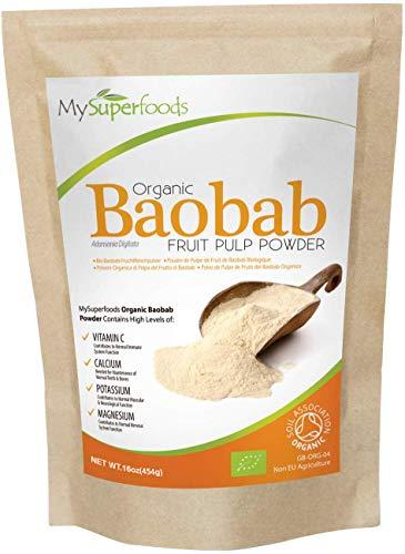 Poudre de Baobab Bio (500g), MySuperFoods, Enrichie de vitamine C, calcium, magnésium, potassium, Certifiée biologique par la Soil Association.