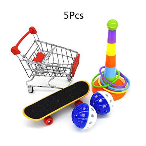 Abcidubxc 5 Stück/Set Vogelspielzeug Für Papageien,Mini-Einkaufswagen Und Trainingsringe Skateboard,Kauzubehör Für Haustiere