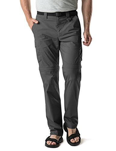 CQR Men's Convertible Cargo Pants, Water Repellent Hiking Pants, Zip Off Lightweight Stretch UPF 50+ Work Outdoor Pants, Convertible Cargo with Belt(txp403) - Charcoal, 34W x 30L