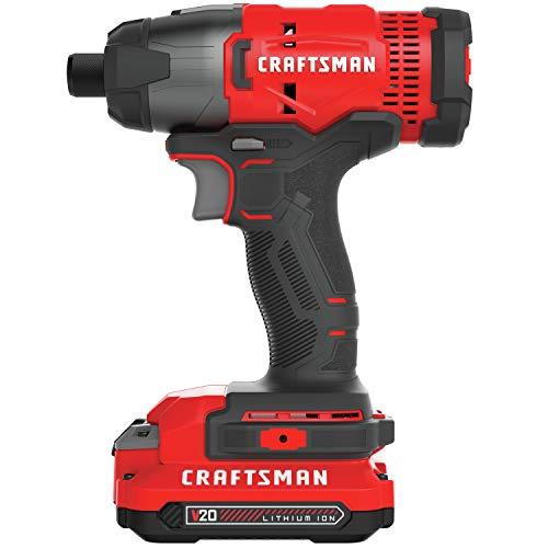 CRAFTSMAN V20 Impact Driver Kit, Cordless, 1/4-Inch (CMCF800C2)