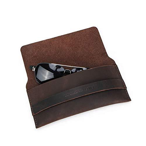 Lederen brillenhoezen, Hiram zonnebrillen en bijziendheid lederen brillenhoezen, gekke paardenkoeienhuid lederen brillenhoezen voor het lezen van brillen (Coffee)
