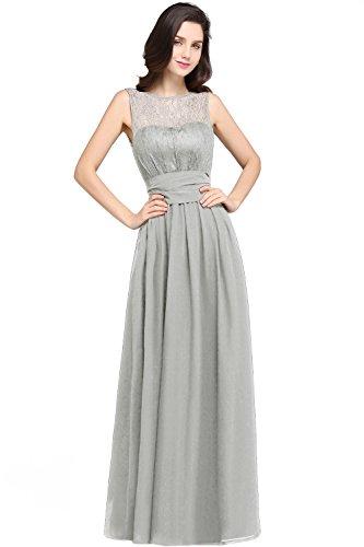 MisShow Damen Kleider Elegant festlich Hochzeit Chiffon Abendkleid Party Kleid A Linien Cocktailkleid Silber Gr.32