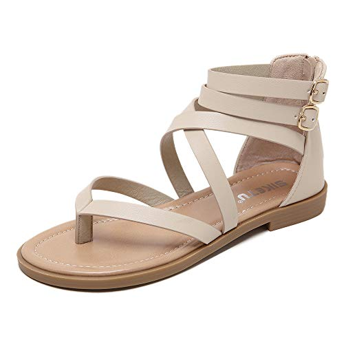 SHSHIBEVER Women Gladiator Strap Sandals Summer Beach Thong Flat Roman Cross Strappy Sandals Shoes with Zipper Apricot 9