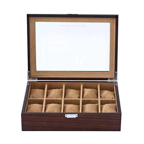 Storage Box Montres et boîte de Rangement Bijoux,Verre en Bois rétro10 Grille Montre boîte Bracelet boîte à Bijoux Et Coussins de Rangement détachables, Coffrets Cadeaux pour Hommes et Femmes