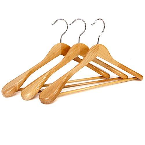 logei® 6pcs perchas de madera perchas con barra de pantalones antideslizante naturaleza perchas para abrigos,trajes(6pcs perchas con hombros extra anchos)