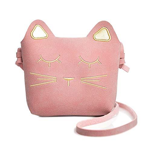 LHKJ Bolso Princesa para Niñas Dibujos Animados Gato Pequeña Bolsade Hombro de Estilo Princesa (Rosa)