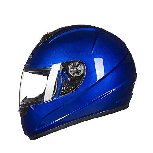 ZXW Casque- Casque de protection anti-vent intégral en cuir pour hommes et femmes (Couleur : Bleu-L36*W27*H26cm)