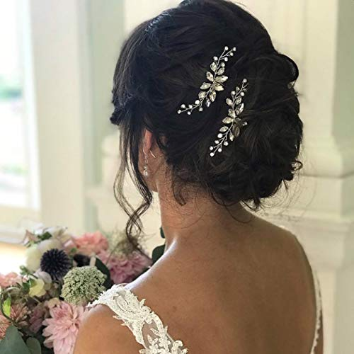 Unicra Braut Hochzeit Haarnadeln Kristall Blume Braut Haarteile Perle Haarschmuck für Frauen und Mädchen 2 Stück