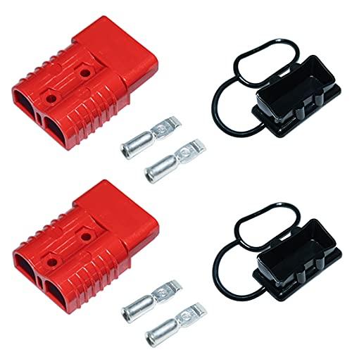 LEZED Conector de Alimentación de Batería Coche Batería de Conexión Rápida 50A 600V Enchufe Rápido del Conector de la Batería para Automóvil Autocaravana Caravana Barco 2 juegos de rojo