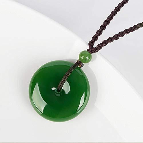 JLB Colgante de nefrita Verde a laModa, Plano y Redondo, círculo, Donut, Paz, Colgante de Piedras de jades Reales Naturales para Collar, N1