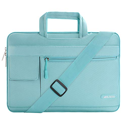 MOSISO Laptop Shoulder Bag Compatible with 2019 MacBook Pro 16 inch A2141, 15 15.4 15.6 inch Dell Lenovo HP Asus Acer Samsung Sony Chromebook, Polyester Flapover Briefcase Sleeve Case, Mint Blue