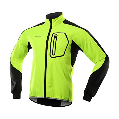 BERGRISAR Men's Winter Softshell Cycling Jacket Windbreaker Water resistant Thermal Fleece Bike Outerwear BG011 Green Size Large