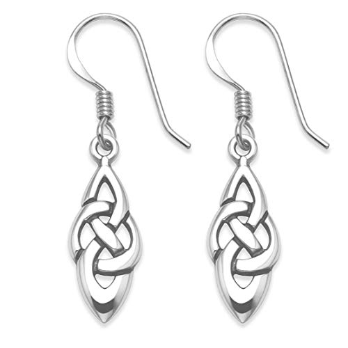 Gift Boxed Sterling Silver Celtic Earrings - SIZE: Small - 17mm (plus ear wires - total length 32mm) 6401