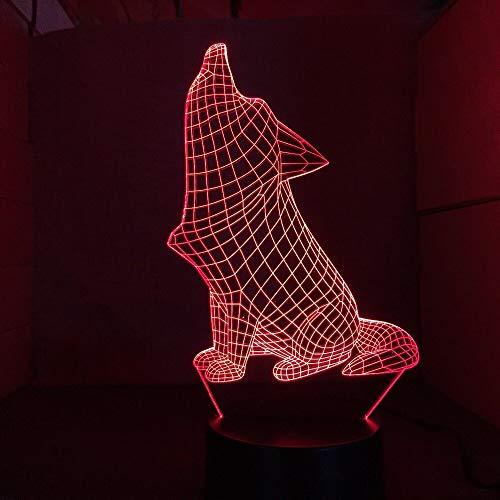 Jiushixw 3D acryl nachtlampje met afstandsbediening kleur tafellamp Roaring Dog Modieuze woonkamer tafellamp wiring Kit