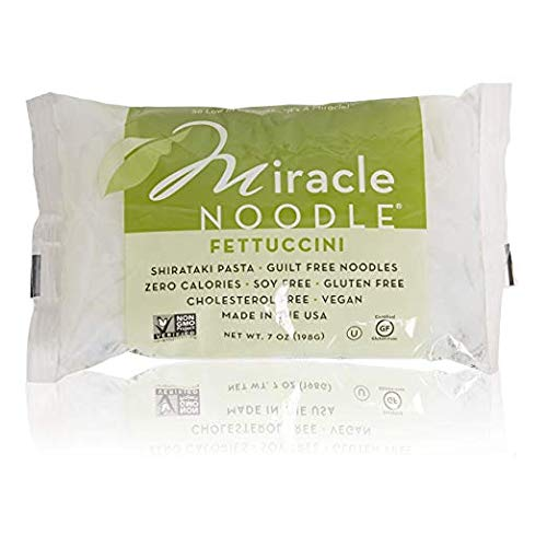 Miracle Noodle Shirataki Fettucini, Gluten-Free, Zero Carb, Keto, Vegan, Soy Free, Paleo, Blood Sugar Friendly, 7oz (4 Pack)