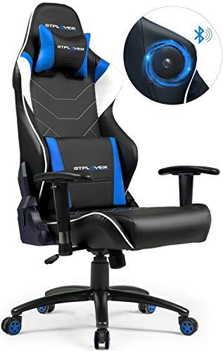 GTPLAYER Gaming stoel met luidspreker bureaustoel muziek audio gamer stoel draaistoel ergonomische design PC stoel multi-functie E-Sports managerstoel (blauw)