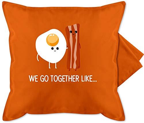 Shirtracer Valentinstag Kissen - we go Together Like. Bacon, Egg - Unisize - Orange - GURLI Kissenhülle - Kissenbezug 50x50 cm und Dekokissen Bezug