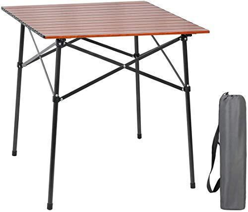 EVER ADVANCED Campingtisch Klapptisch mit Aluminium Tischplatte faltbar leicht tragbar mit Tragetasche für 4 Personen 70 x 70cm (Brown)