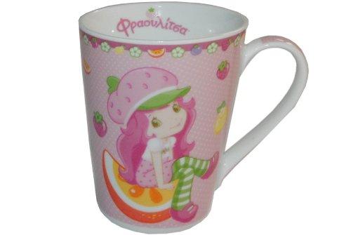 alles-meine.de GmbH Henkeltasse Emily Erdbeere groß - Keramik Trinktasse Tasse Porzellantasse Erdbeer Mädchen rosa pink
