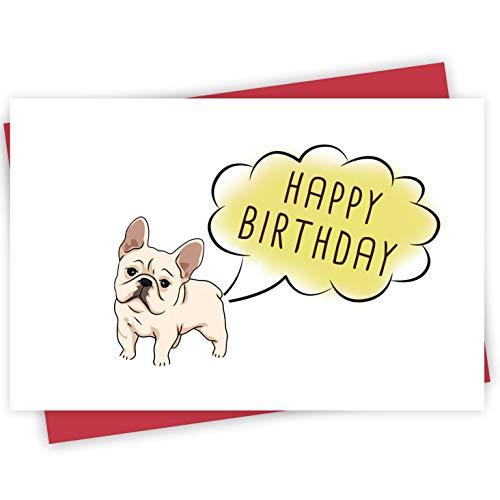 Funny Bulldog Birthday Card, Super Cute Birthday Greeting Card for Dad, Mom Friend, Animal Card