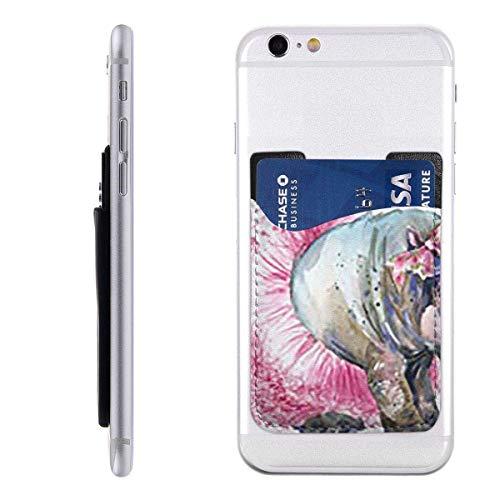 Inner-shop Mobiele kaart WalletPocket ID Credit Card SleeveWatercolor Grappige Baby Hippo Graphics Hippopotamus Plezier Prinses Meisje Danser