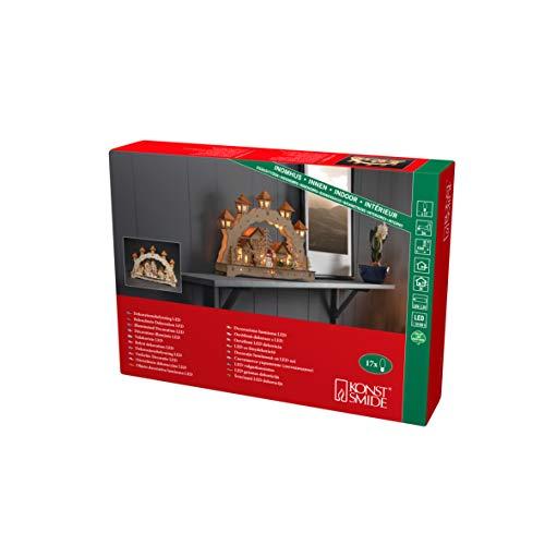 Konstsmide, 3251-100, LED Holzsilhouette, naturfarben, Holzbrücke mit Laternen, wählbare Energiefunktion, 17 warm weiße Dioden, 3V Innentrafo/batteriebetrieben, transparentes Kabel
