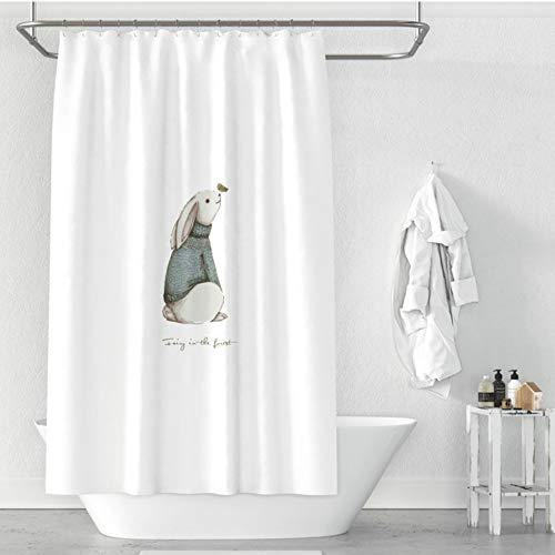kekeshigedou Duschvorhang Mehltau Beweis Scenic Duschvorhang Geburtstagsgeschenk Duschvorhang nach Maß Duschvorhang Bad Vorhang Partition Kaninchen Elch Feder Weiß