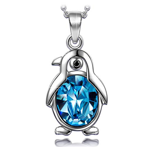 ANGEL NINA Valentines Day Gifts for Teenage Girls Necklaces for Women Cute Animal Necklaces Crystal Pendant Jewelry Sterling Silver Penguin Necklaces for Women Birthday Gifts for Daughter