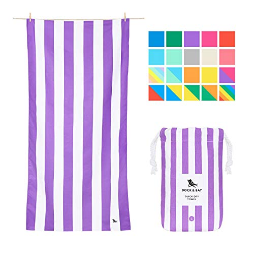 Dock & Bay Sand Free Beach Towel XL - Brighton Purple, Extra Large (200x90cm, 78x35) - Big Beach Blanket, Striped Towels for Yoga and Travel