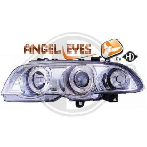 in. pro. 1214385 haute définition Head Set LED Angel Eyes avec Celis anneaux et indicateur, chrome Transparent