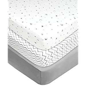 American Baby Company 100% Natural Cotton Value Jersey Knit Fitted Portable/Mini-Crib Sheet, Grey Star/Zigzag, 24″ x 38″ x 5″, Soft Breathable, for Boys and Girls, Pack of 3