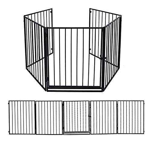 Kaminschutzgitter Metall, Faltbar Konfigurationsgitter mit Sicherheitssperre, 5 Gitter Elemente, Erweiterbar Absperrgitter, Ofenschutzgitter, Laufgitter mit Sicherheitstür, Kinderschutzgitter-310x75cm